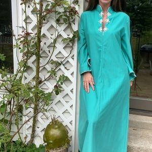 Vintage 70s turquoise velour robe OSFM